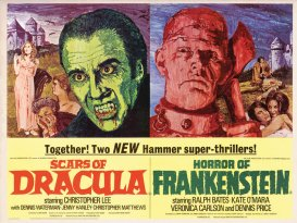 Double-Bill-Hammer-Poster, murderincommon.com, horror movies, zombies, thrillers, suspense, terror