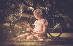 girl reading & bike